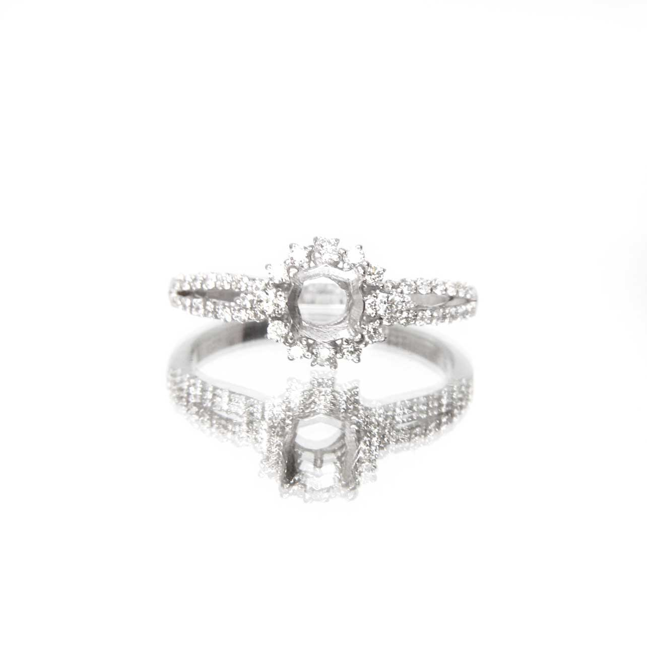 Diamond Series Ring - Sunburst Ring Setting Only (US 7, 18K White Gold)