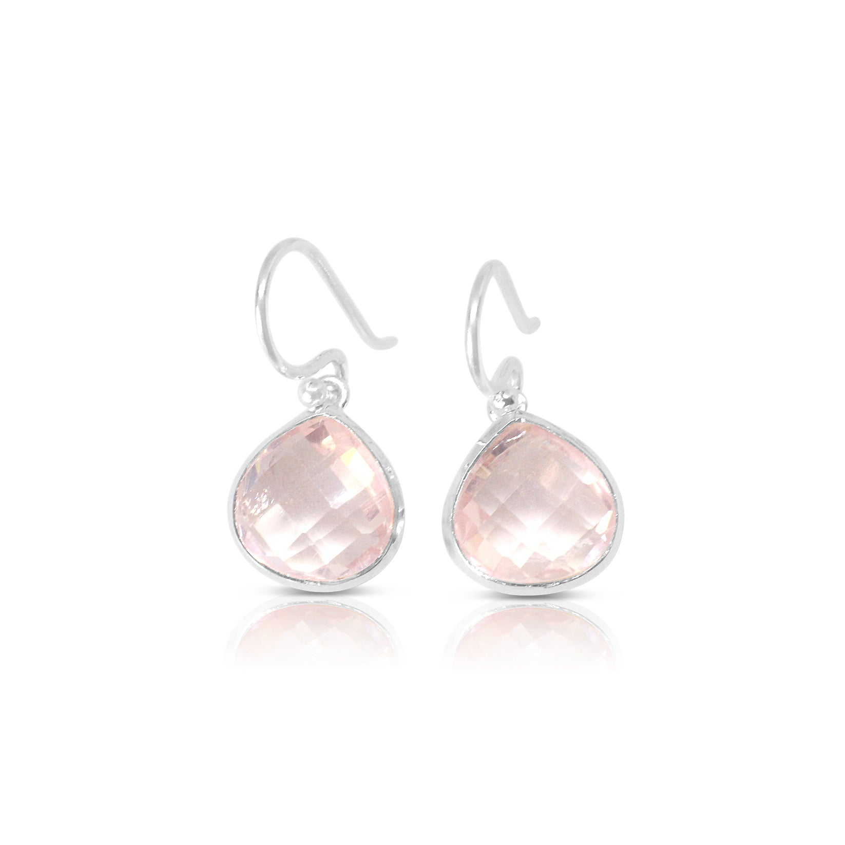 925 Silver Classic Series Earrings - Venus (Rose Quartz)