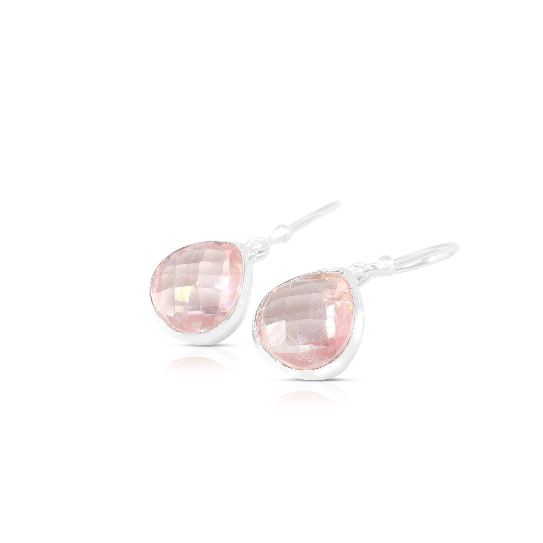 925 Silver Classic Series Earrings - Venus (Rose Quartz) - Tessellate.Co