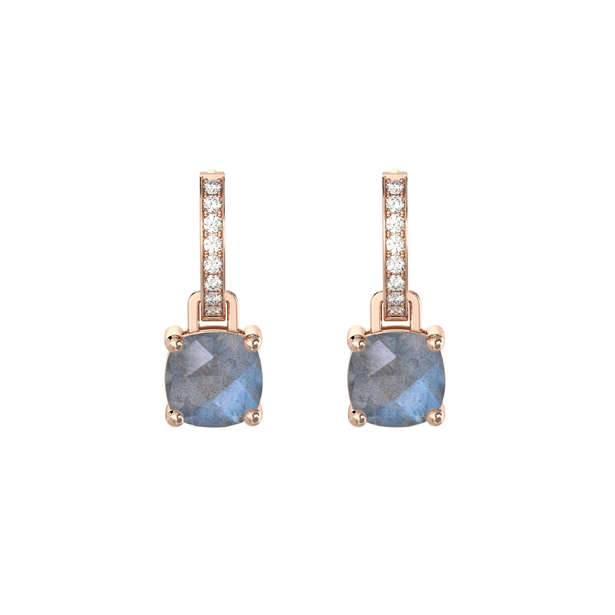 925 Silver Luxe Series Earrings Charms - Wylie (Labradorite) - Rose Gold Plated