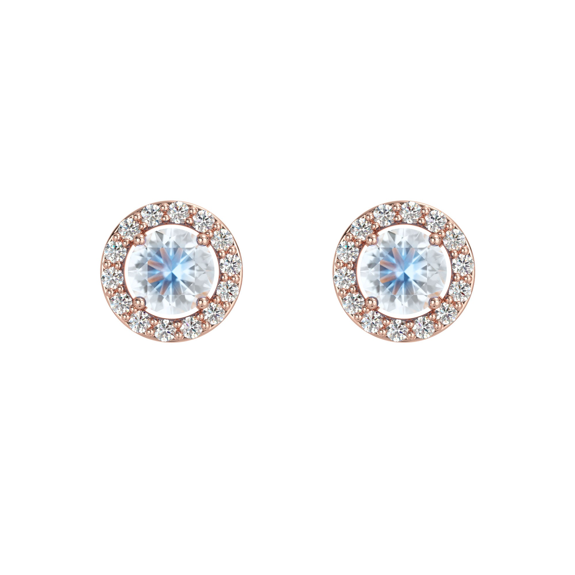 925 Silver Luxe Series Earring - Lydia (Moonstone) - Rose Gold Plated