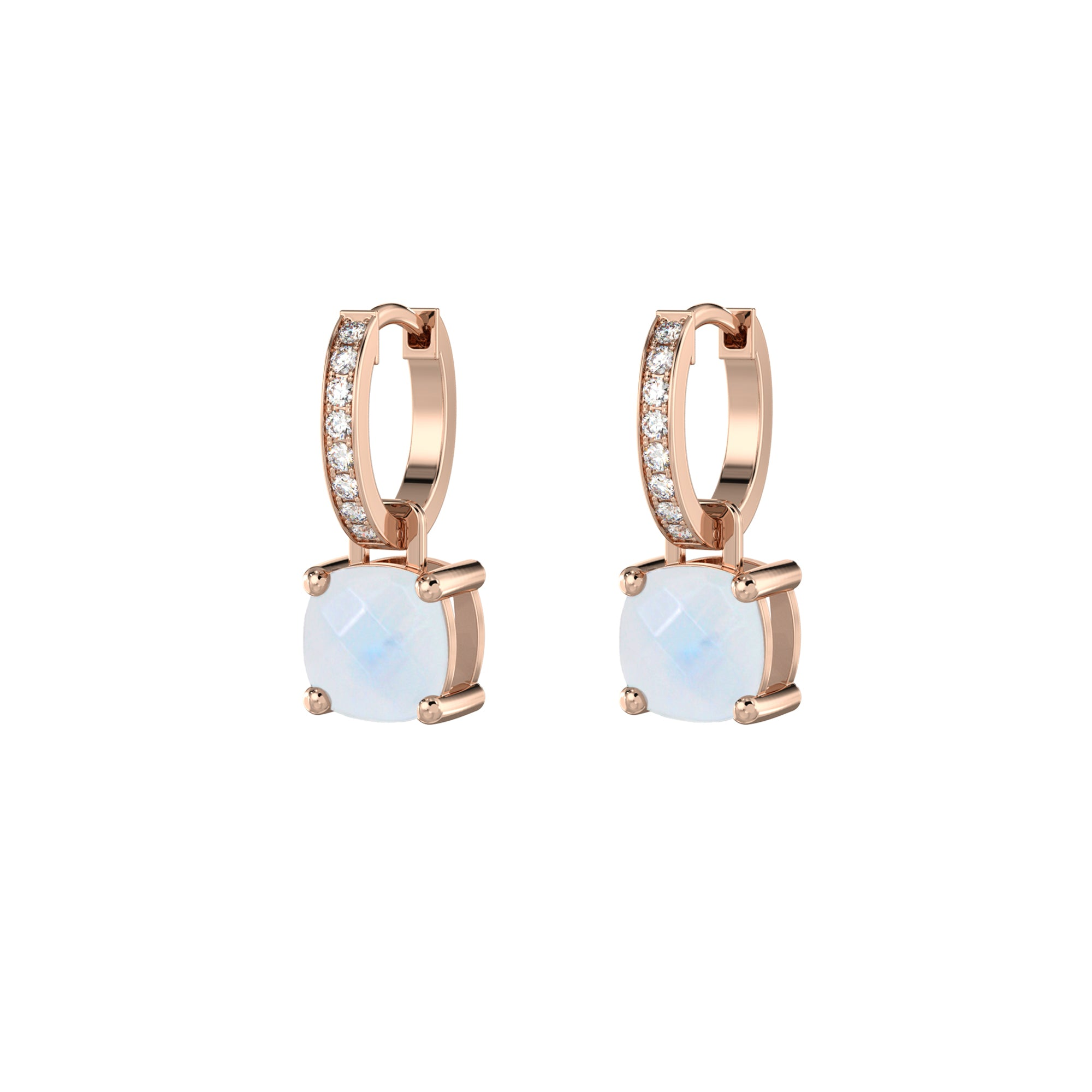 925 Silver Luxe Series Earrings Charms - Wylie (Moonstone) - Rose Gold Plated