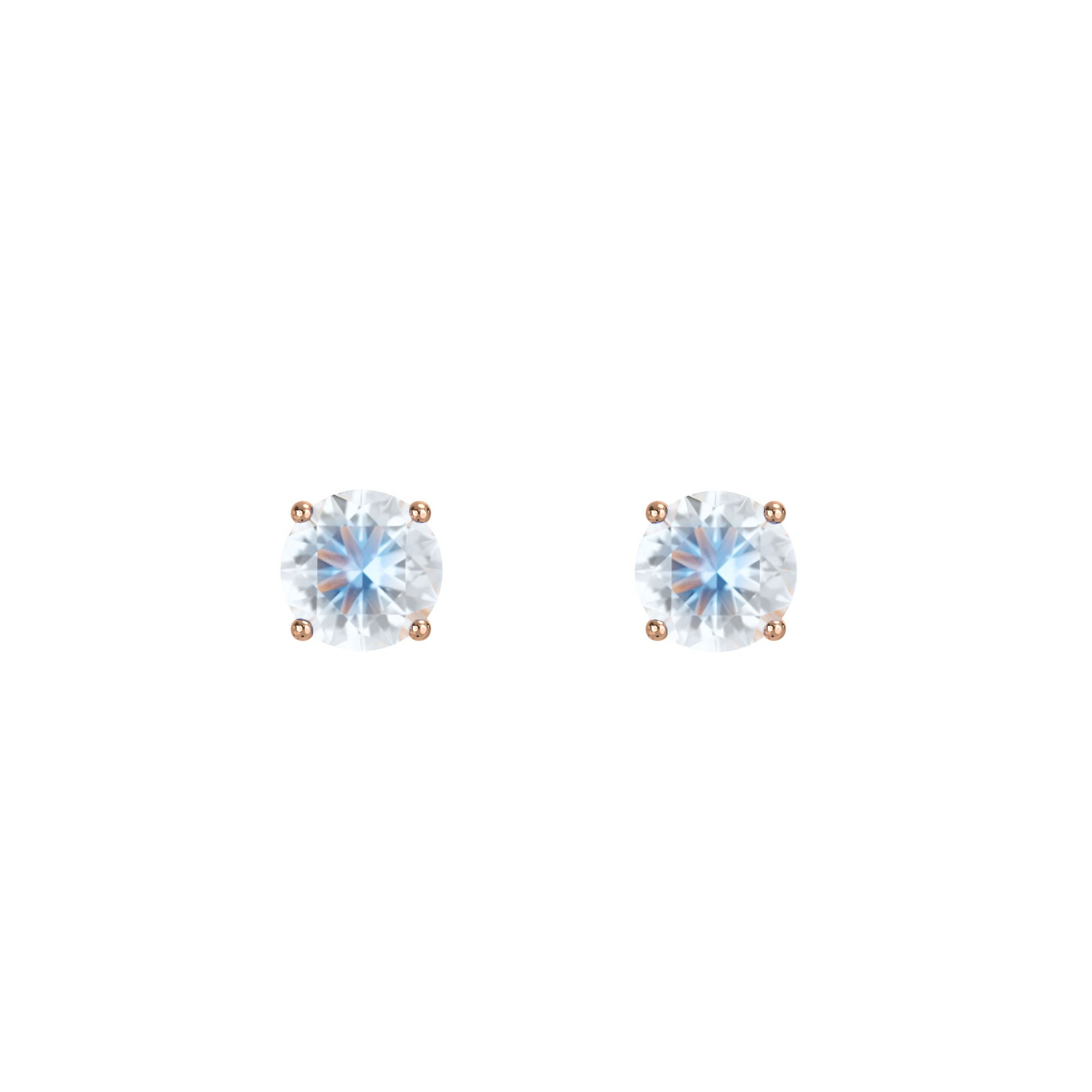 925 Silver Classic Series Earring - Lynn (Moonstone) - Rose Gold Plated