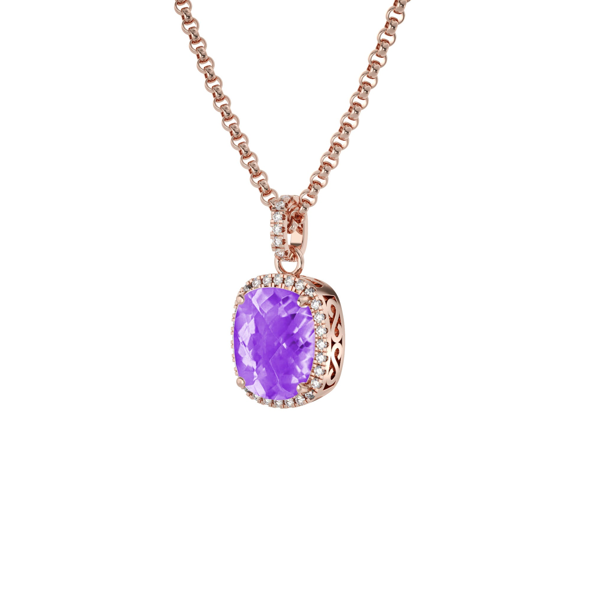 925 Silver Luxe Series Necklace - Laria (Amethyst) - Rose Gold Plated