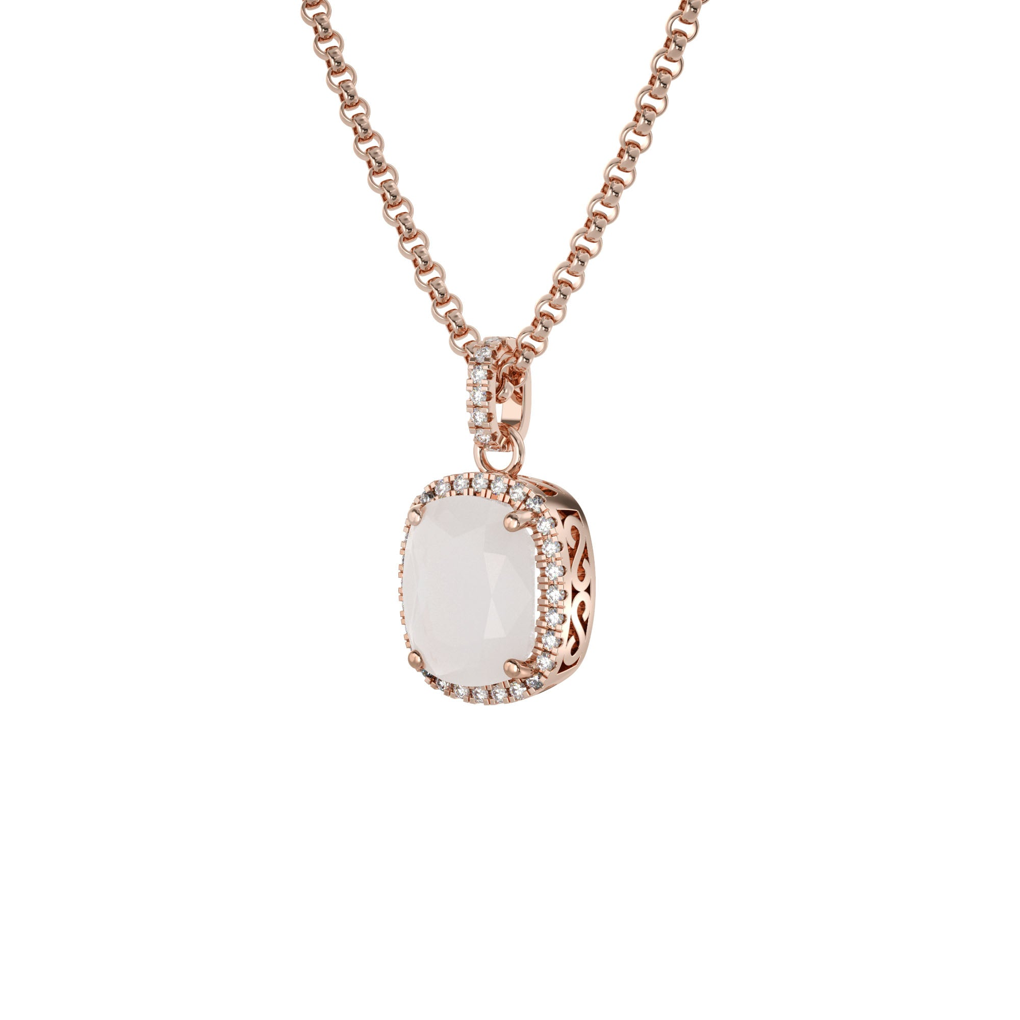 925 Silver Luxe Series Necklace - Laria (Moonstone) - Rose Gold Plated