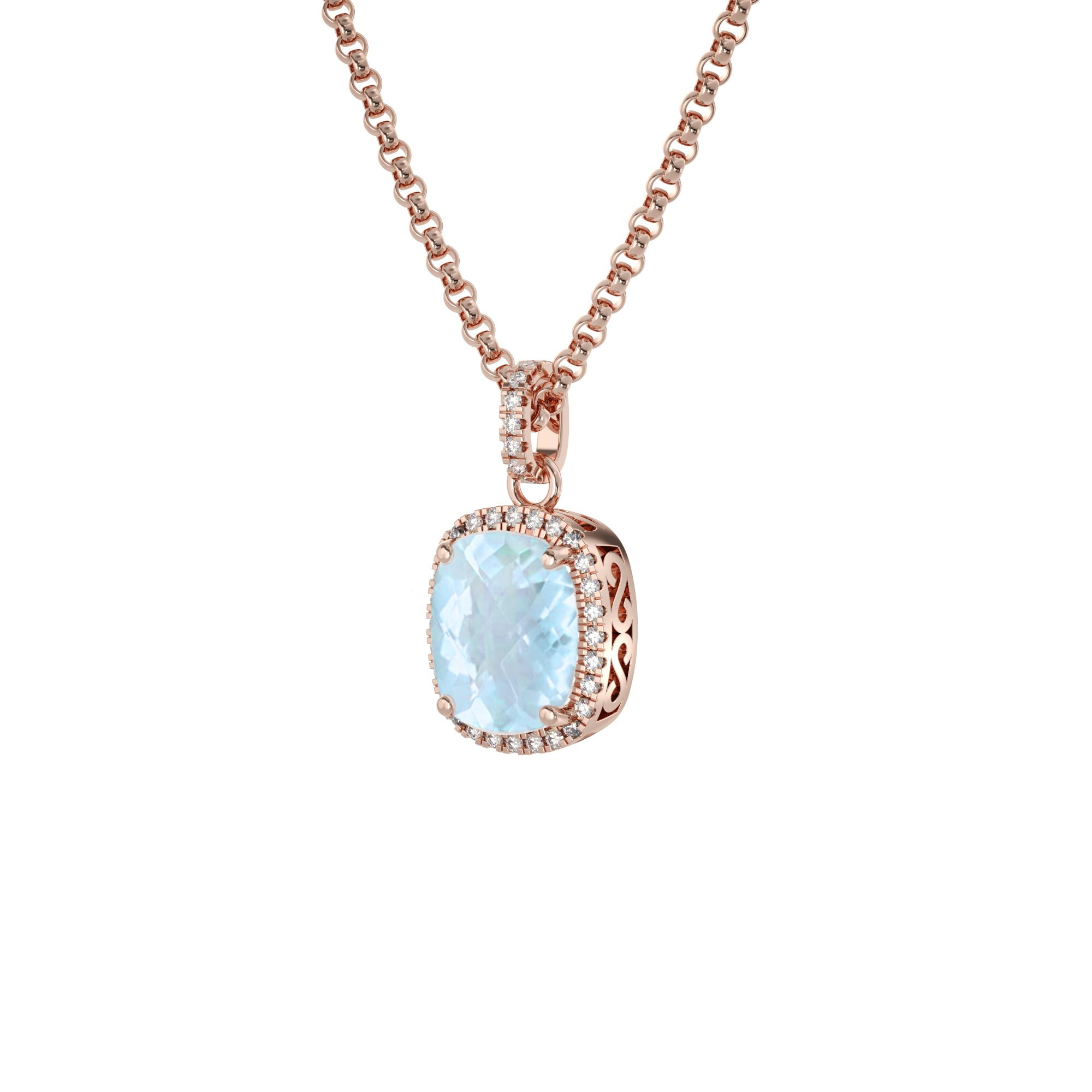 925 Silver Luxe Series Necklace - Laria (Topaz) - Rose Gold Plated