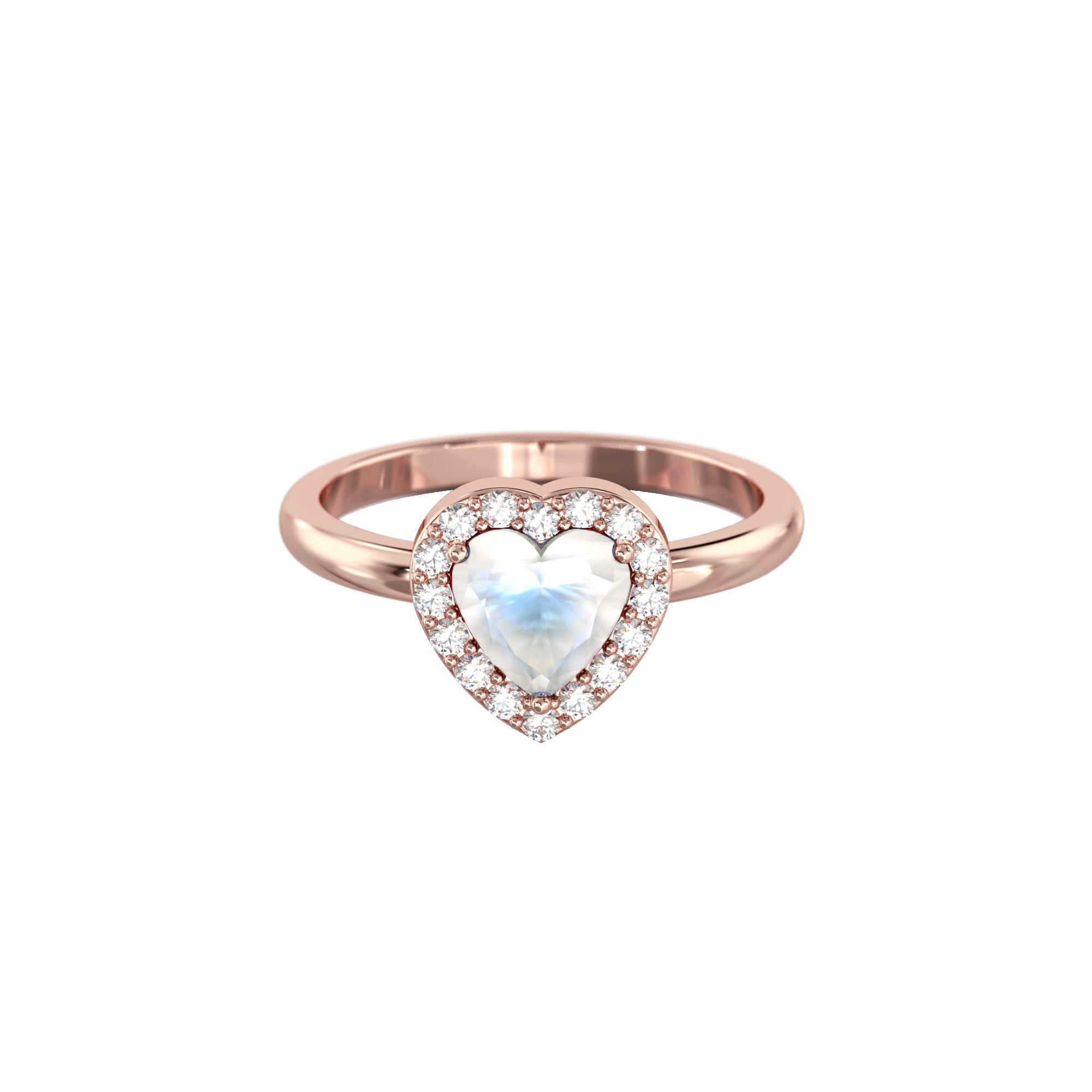 925 Silver Luxe Series Ring - Leanne (Moonstone) - Rose Gold Plated