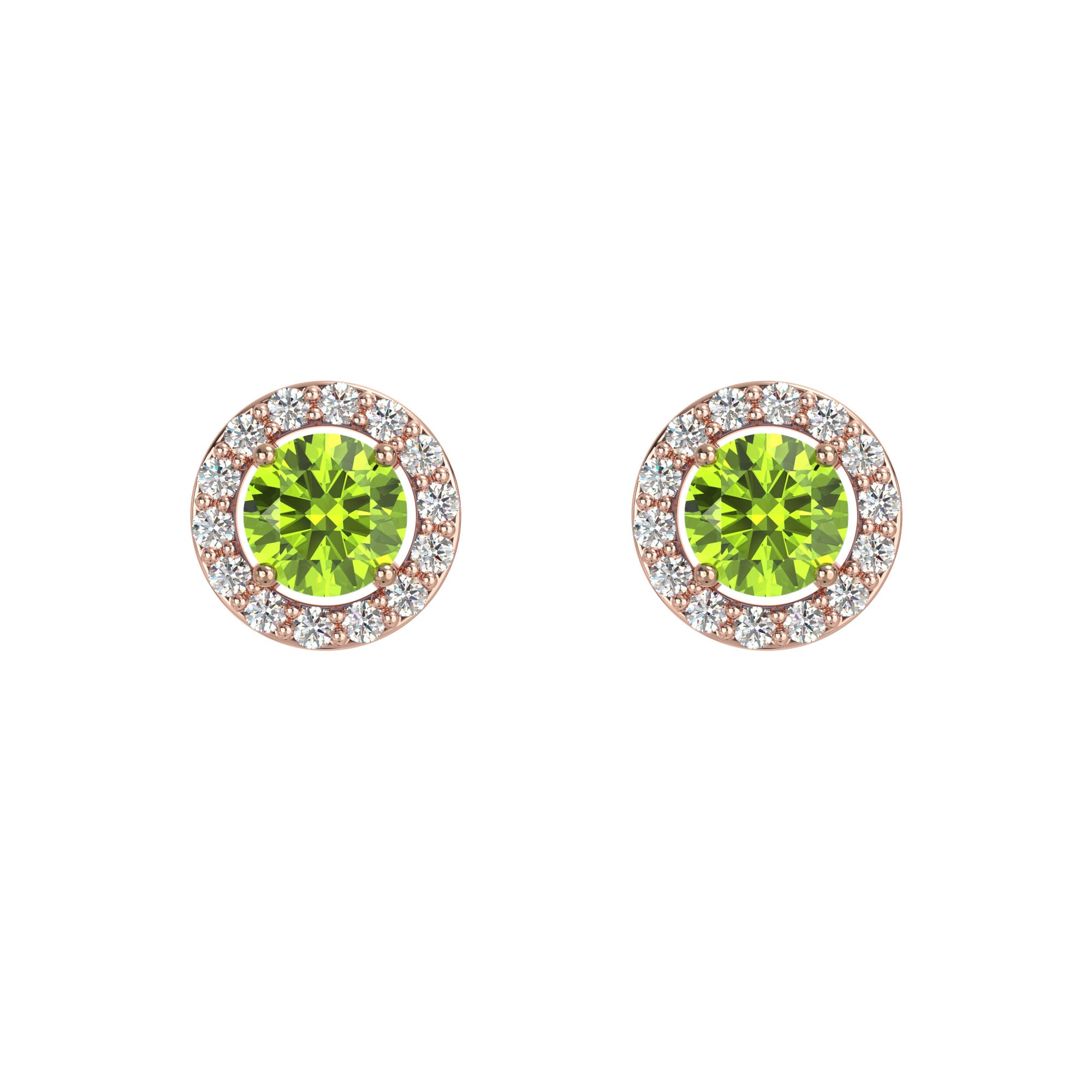 925 Silver Luxe Series Earring - Lydia (Peridot) - Rose Gold Plated