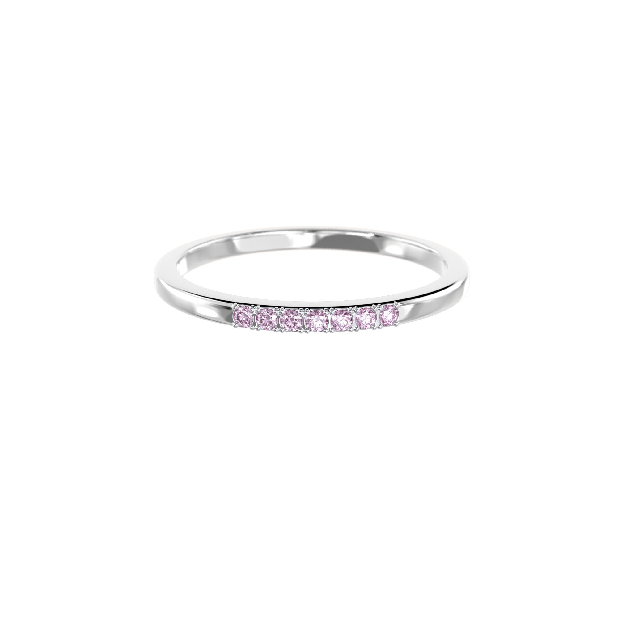 925 Silver Classic Series Ring - Esther (Pink Sapphire) - Rhodium Plated