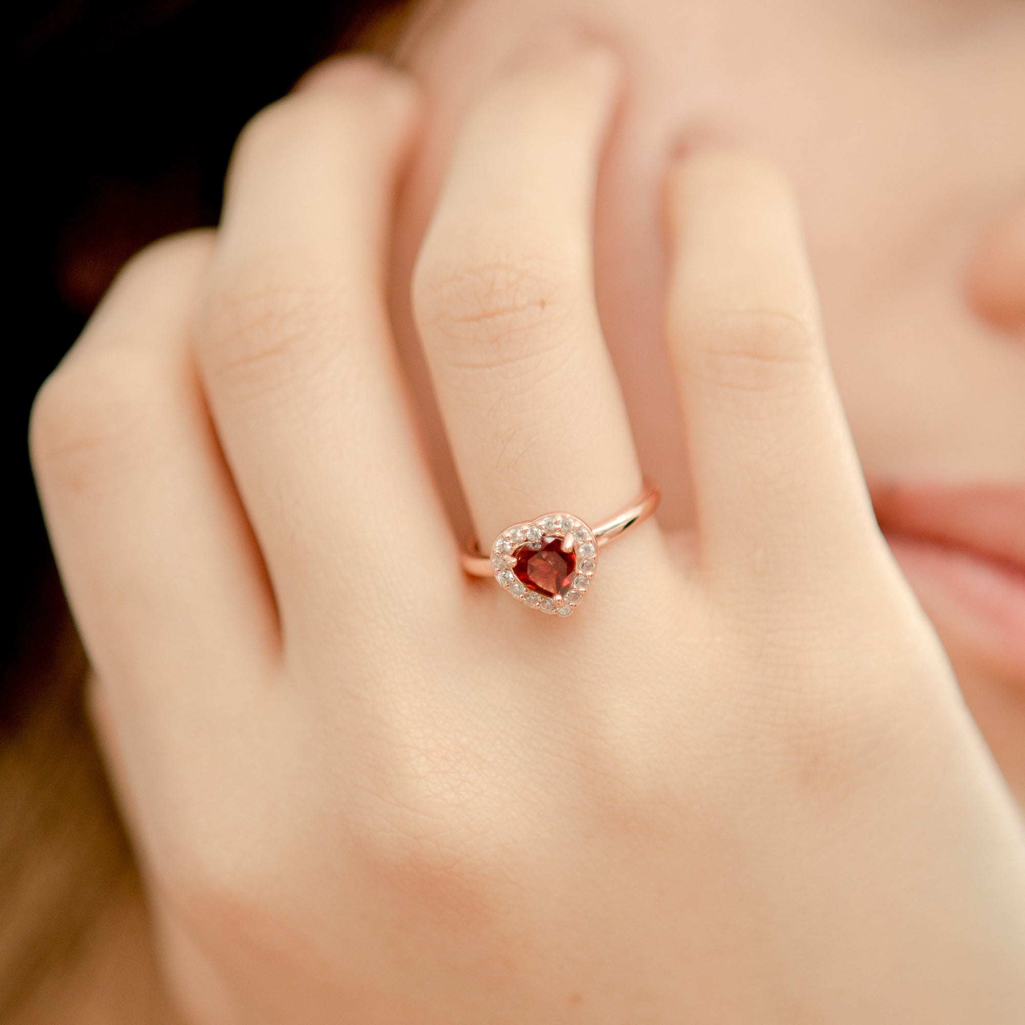 925 Silver Luxe Series Ring - Leanne (Garnet) - Rose Gold Plated
