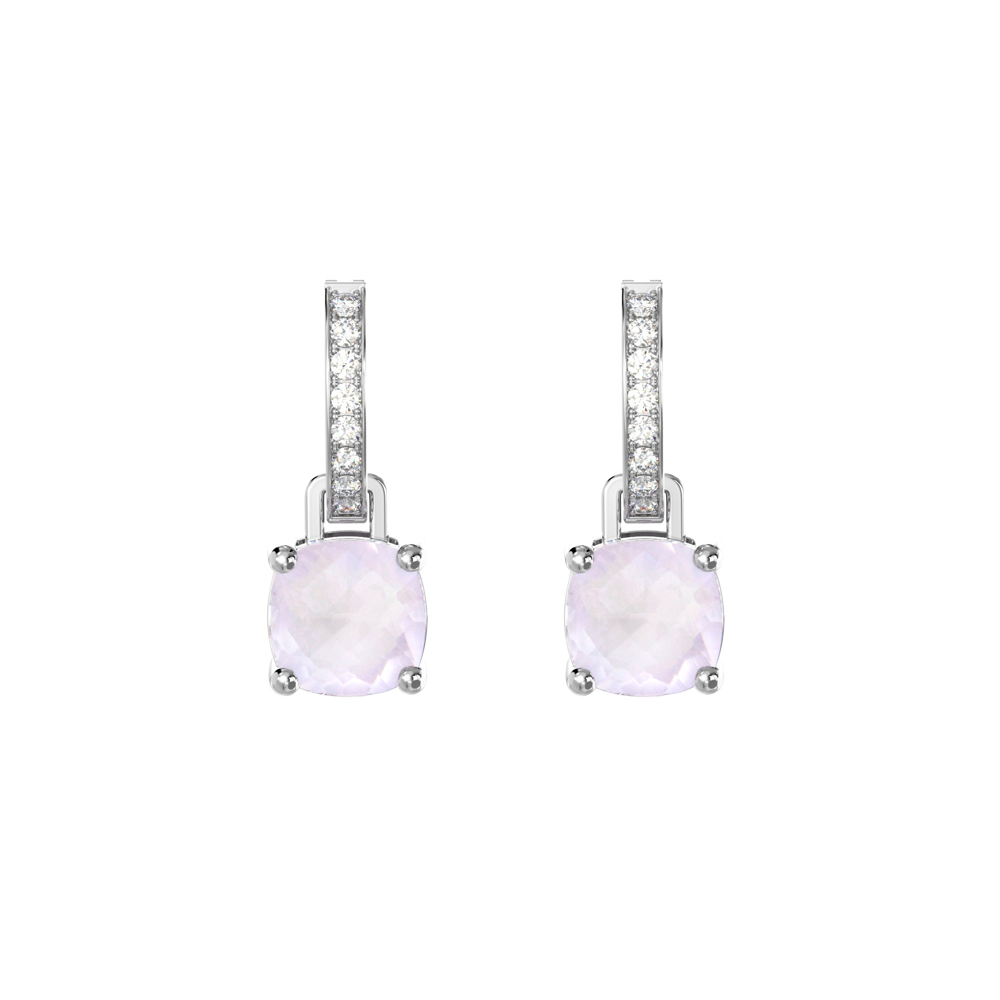 925 Silver Luxe Series Earrings Charms - Wylie (Rose Quartz)