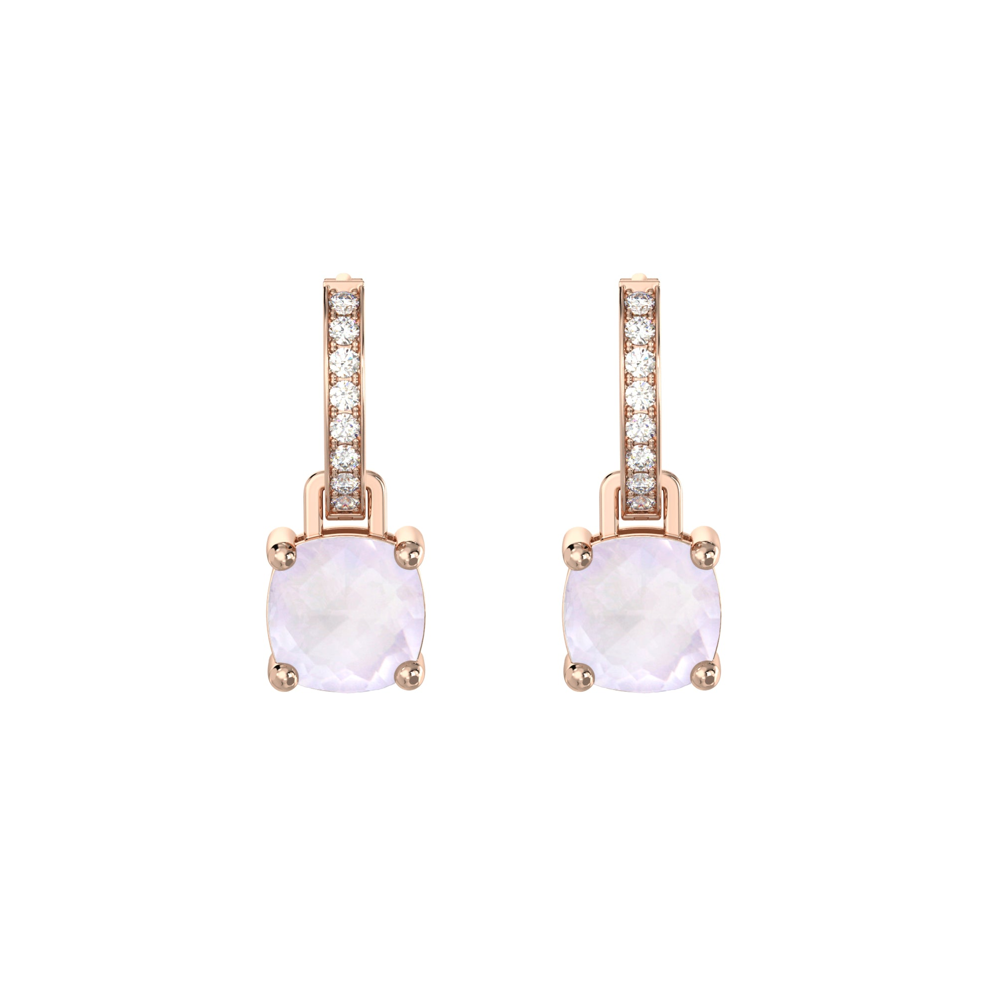 925 Silver Luxe Series Earrings Charms - Wylie (Rose Quartz) - Rose Gold Plated