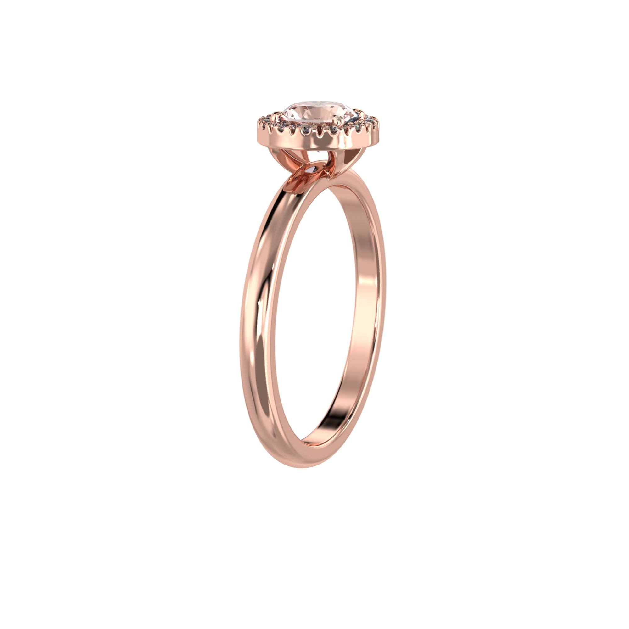 925 Silver Luxe Series Ring - Lydia (Rose Quartz) - Rose Gold Plated
