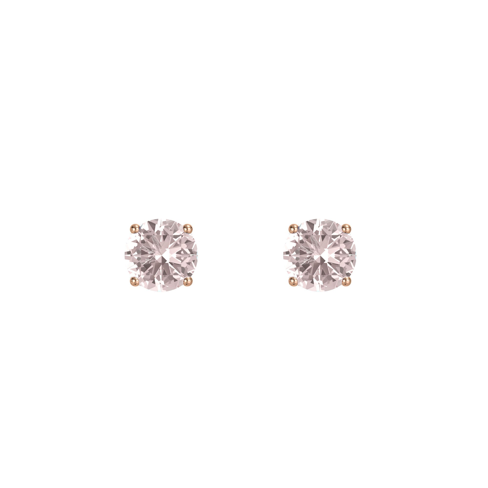 925 Silver Classic Series Earring - Lynn (Rose Quartz) - Rose Gold Plated