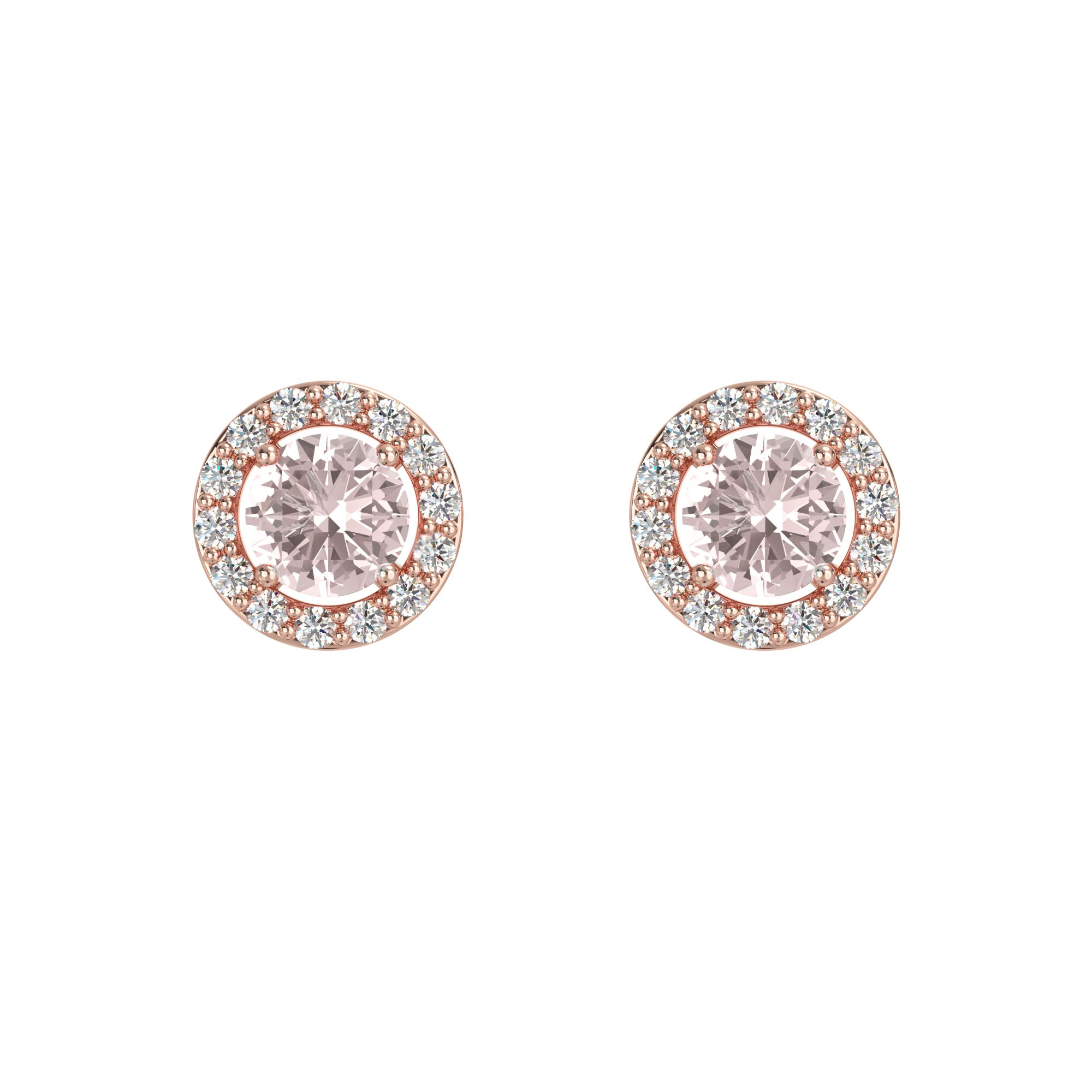 925 Silver Luxe Series Earring - Lydia (Rose Quartz) - Rose Gold Plated