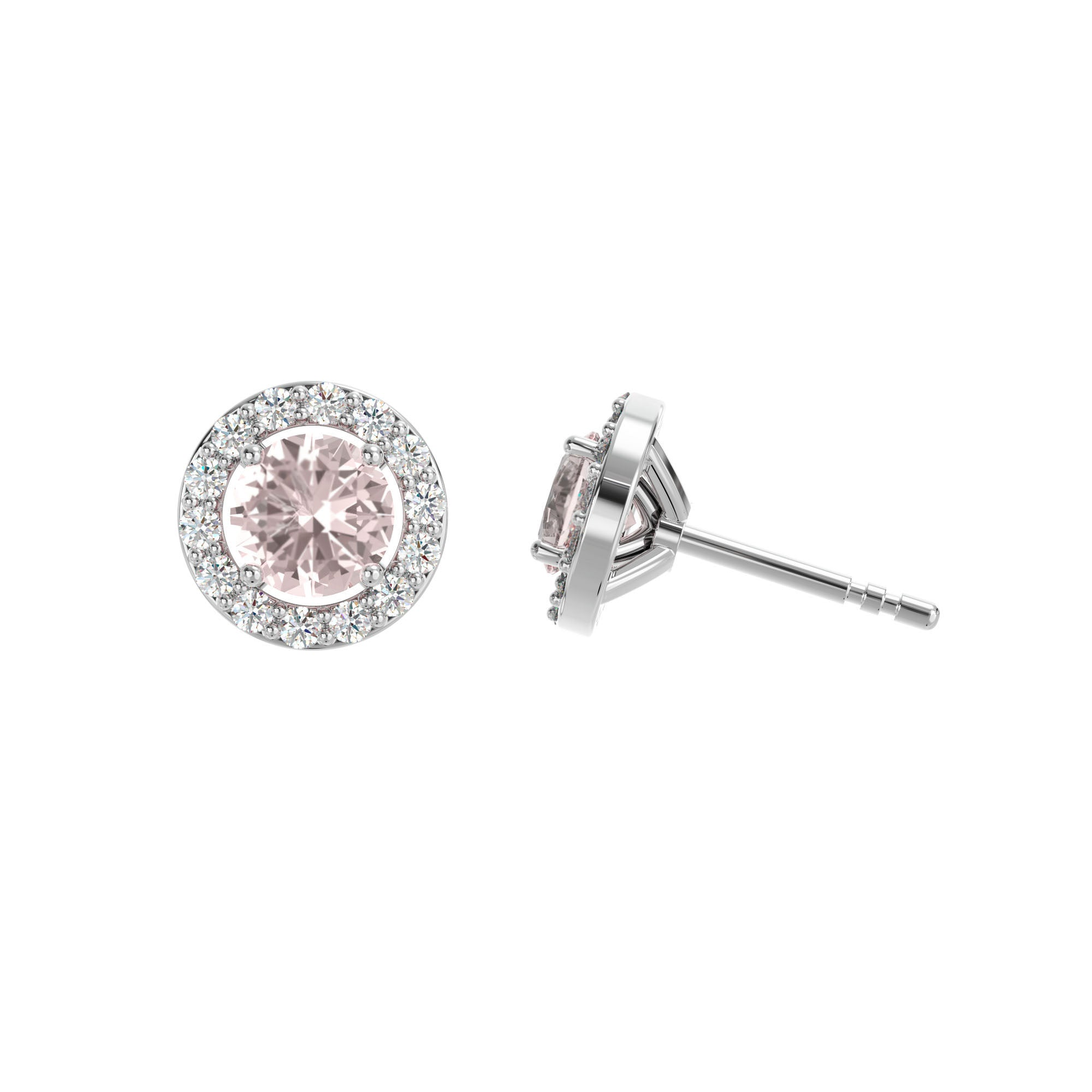 925 Silver Luxe Series Earring - Lydia (Rose Quartz)