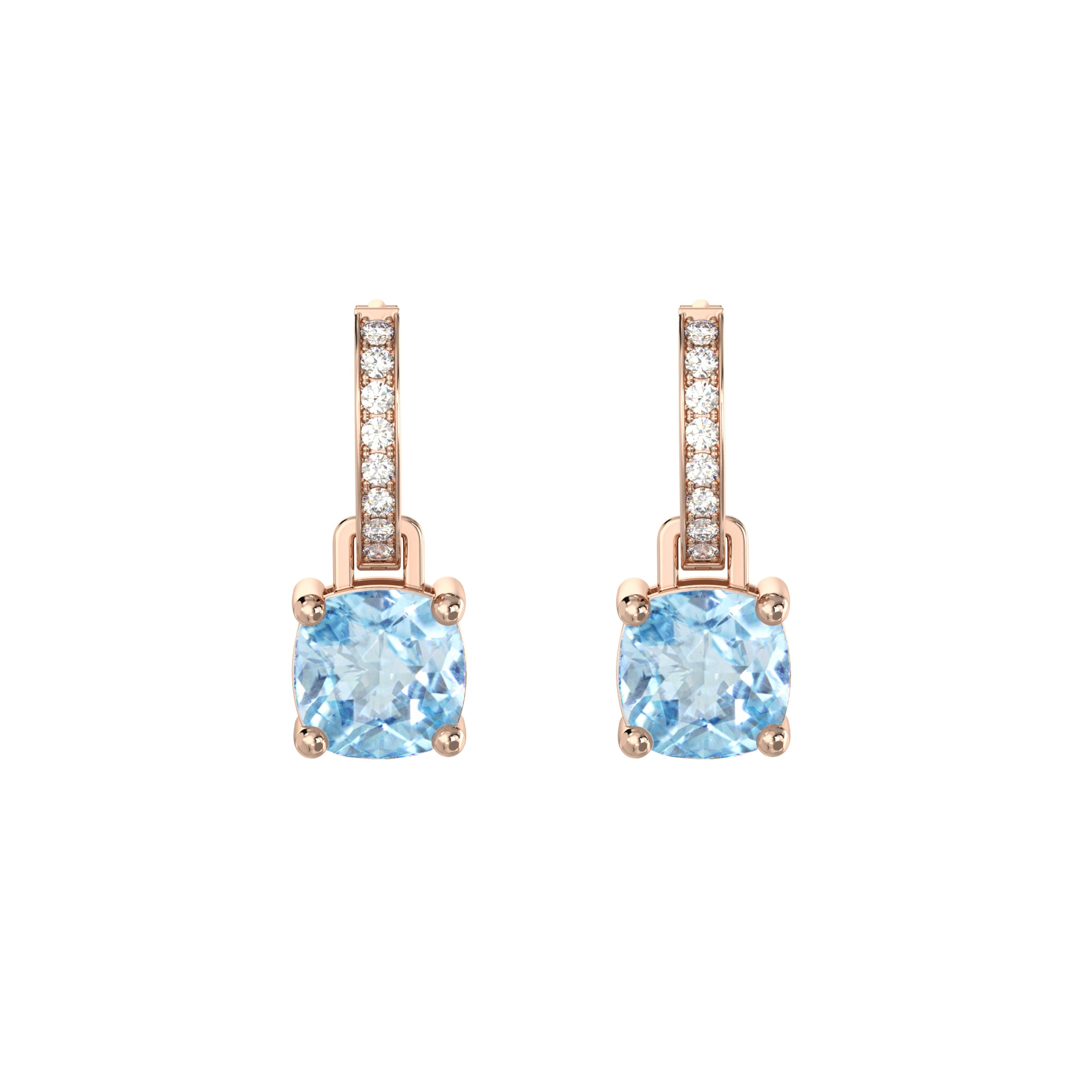 925 Silver Luxe Series Earrings Charms - Wylie (Topaz) - Rose Gold Plated