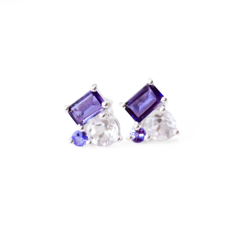 925 Silver Luxe Series Earring - Melissa (Tanzanite, Iolite, Crystal)