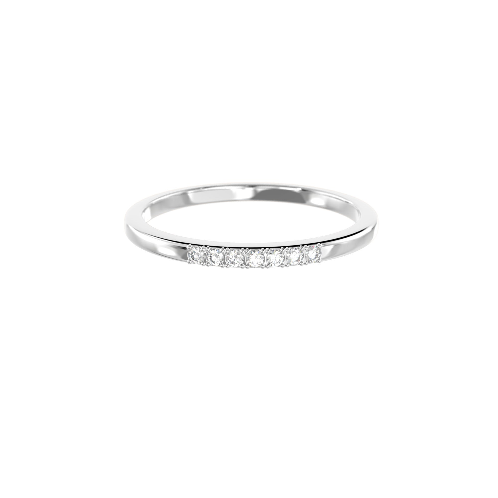 925 Silver Classic Series Ring - Esther (White zirconia) - Rhodium Plated