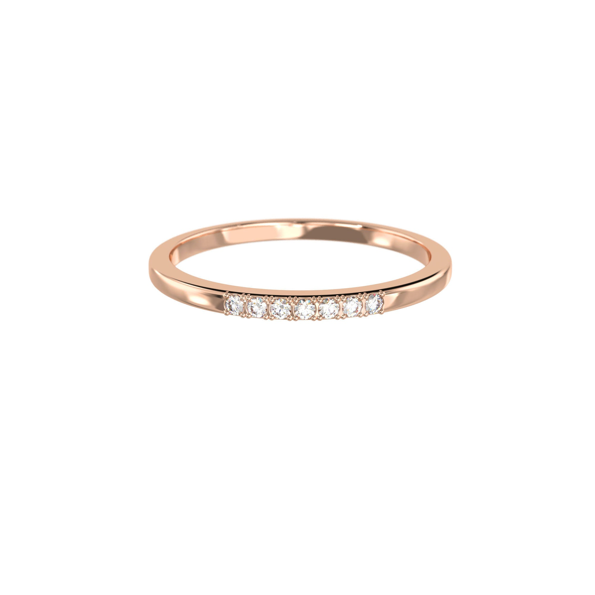 925 Silver Classic Series Ring - Esther (White zirconia) - Rose Gold Plated