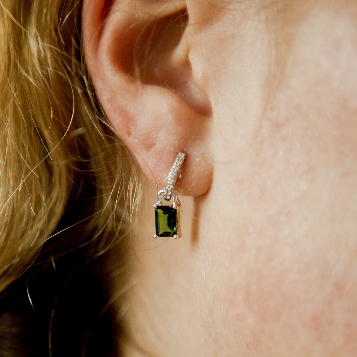 925 Silver Luxe Series Earrings Charms - Celia (Chrome Diopside)