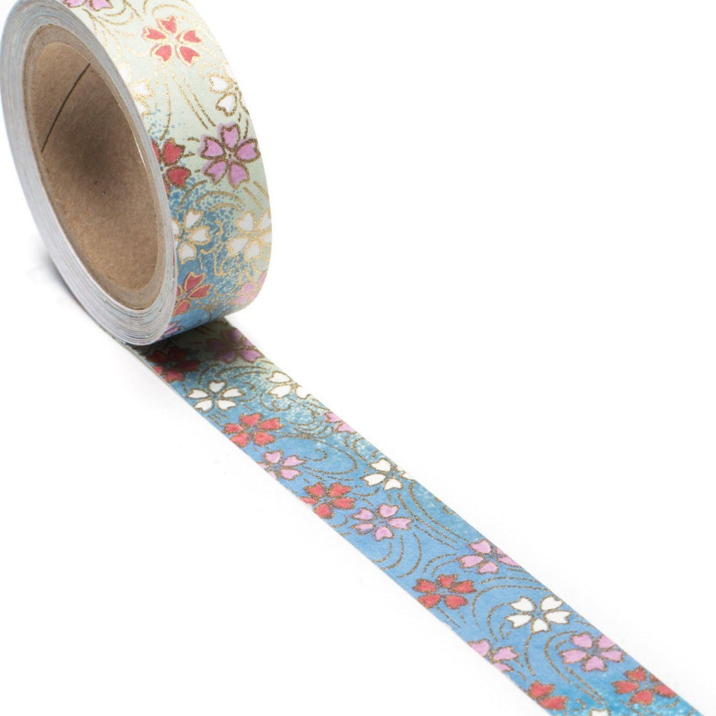 Spring Streams Hand-Silkscreened Japanese Chiyogami Yuzen Washi Tape