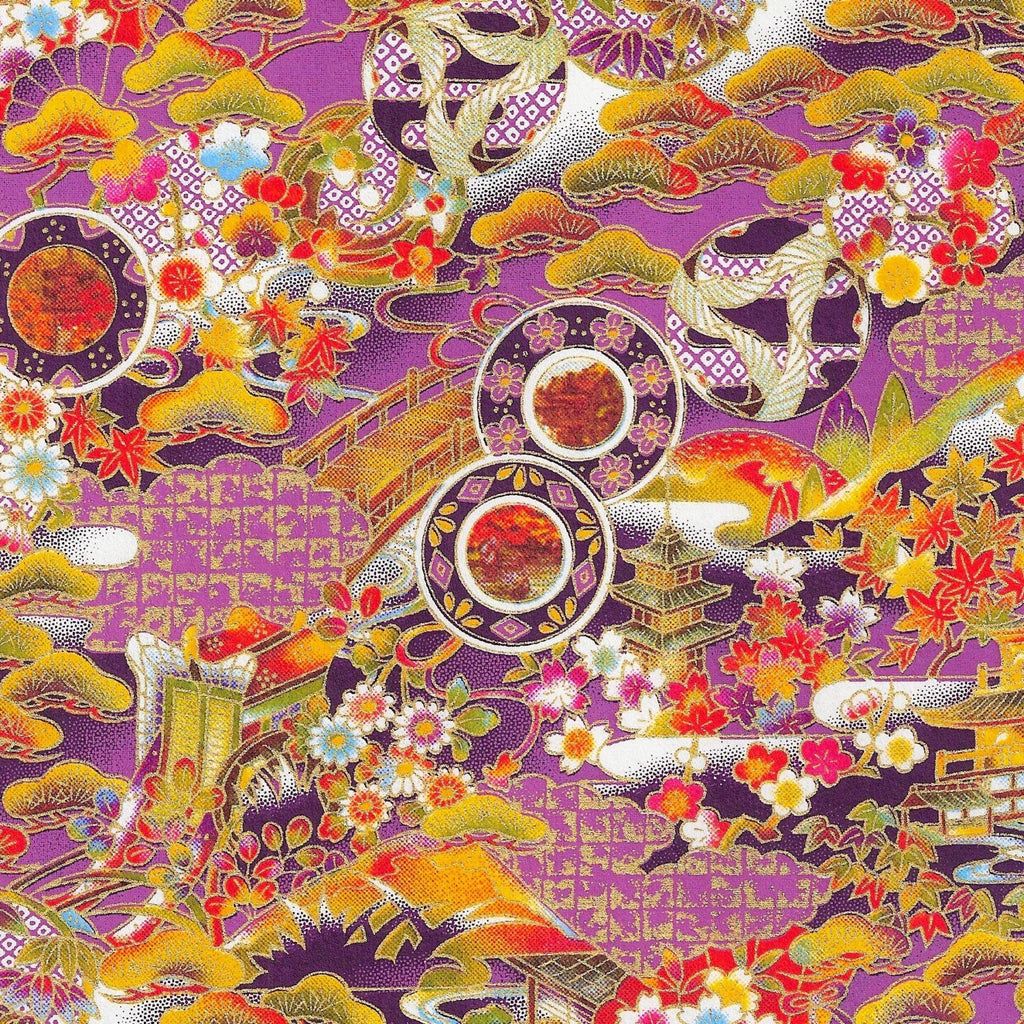 "Full Sheet 25"" x 38"" Scenic Autumn Hand-Silkscreened Japanese Chiyogami Yuzen Washi Paper SKU# RWPF - 1033"
