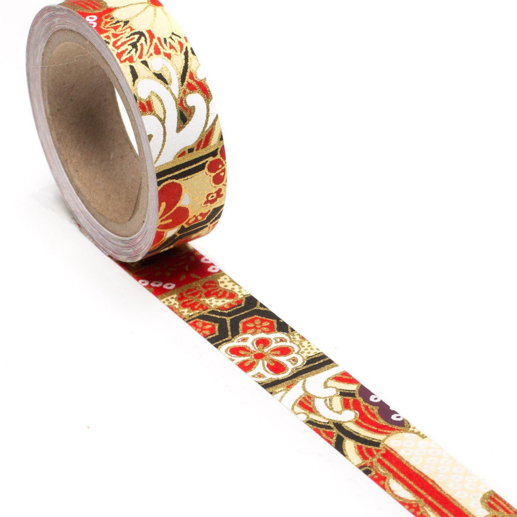 Red Ocean Garden Hand-Silkscreened Japanese Chiyogami Yuzen Washi Tape