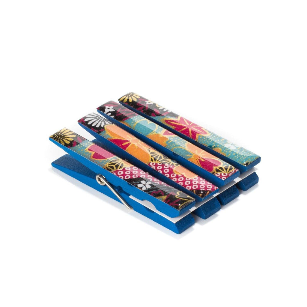 Blue Floral Stream Japanese Chiyogami Yuzen Washi Clothespin Magnets - Set of 4 SKU# RCM - 1030