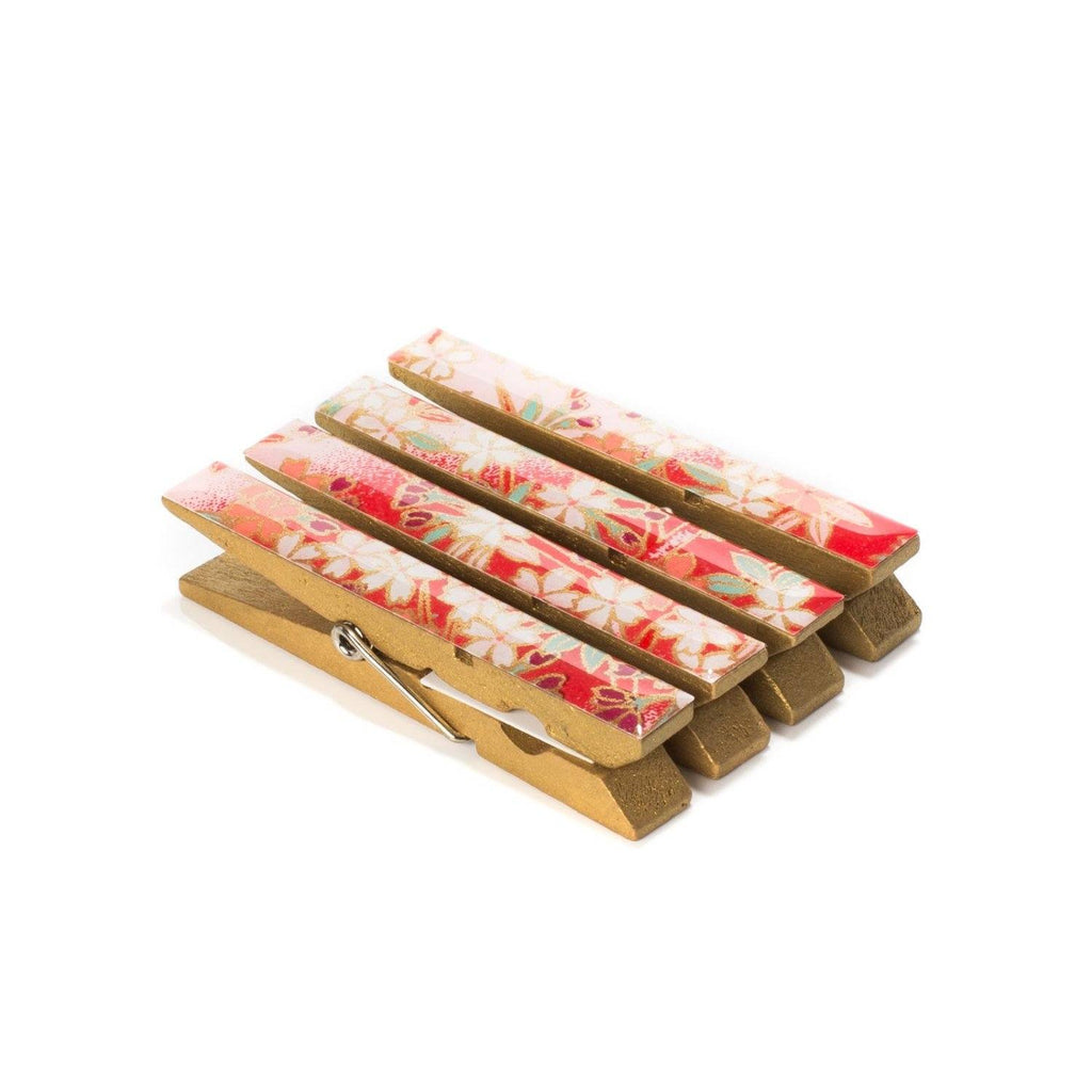 Champagne Dreams Japanese Chiyogami Yuzen Washi Clothespin Magnets - Set of 4 SKU# RCM - 1006