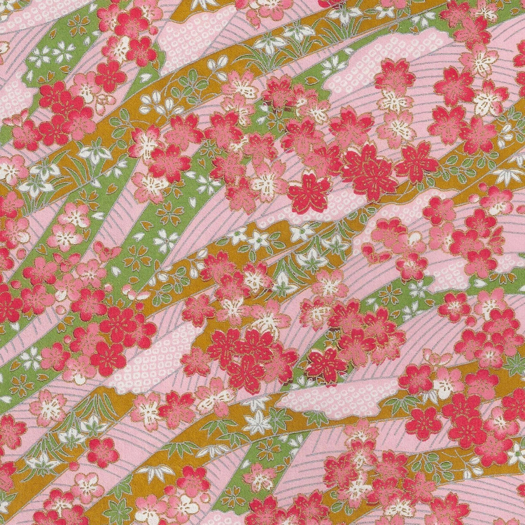 Cotton Candy Dreams Hand-Silkscreened Japanese Chiyogami Yuzen Washi Paper Half Sheet  SKU# RWPH - 1003