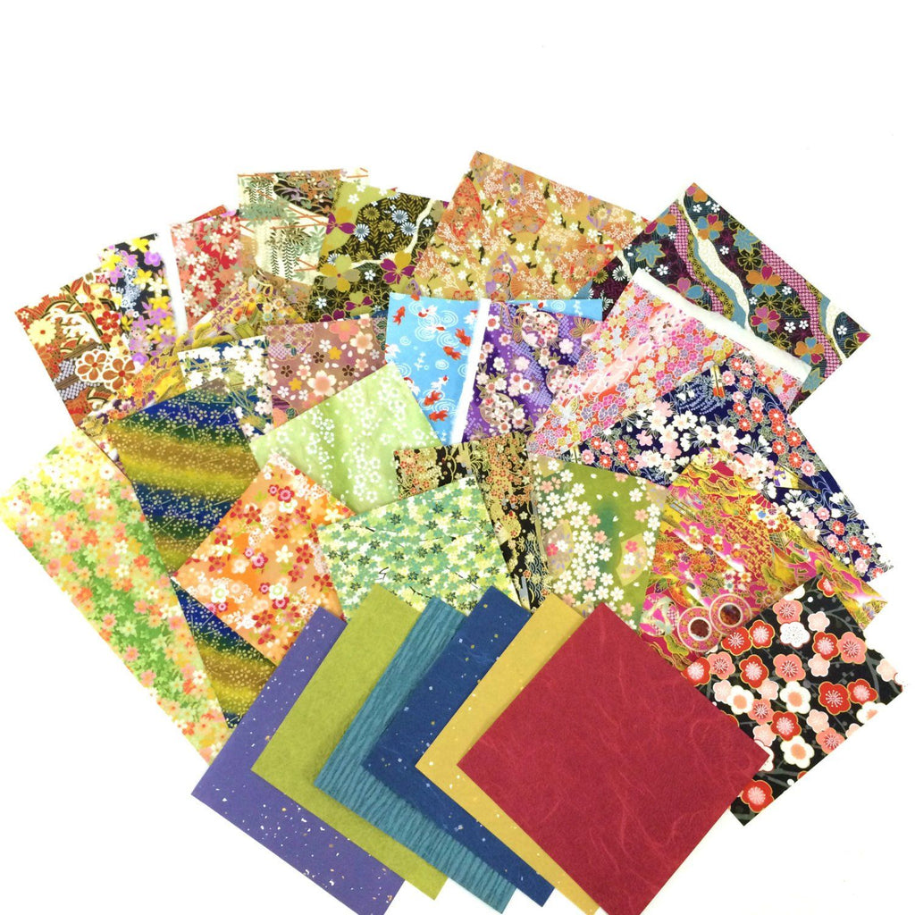 Washi Paper Sample Pack - Assorted Chiyogami Yuzen Japanese Papers