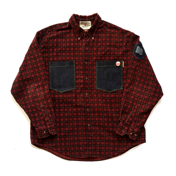 CHRiS CARDi x TREZO BEACH Vintage Corded Plaid Shirt Jacket (X-Large)