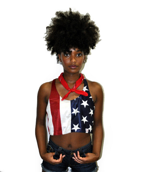 "Women's Lady Liberty ""USA"" Cropped Tank Top"