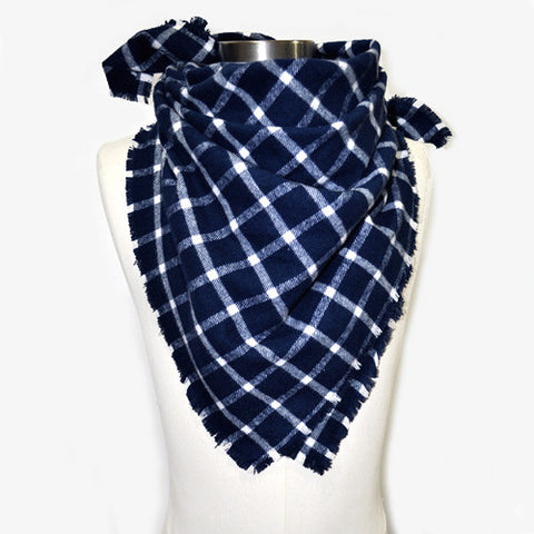 Large Gingham Unisex Neckerchief Scarf (White/Navy)