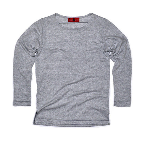 LS No Crew Tee  (Light Grey French Terry Knit)
