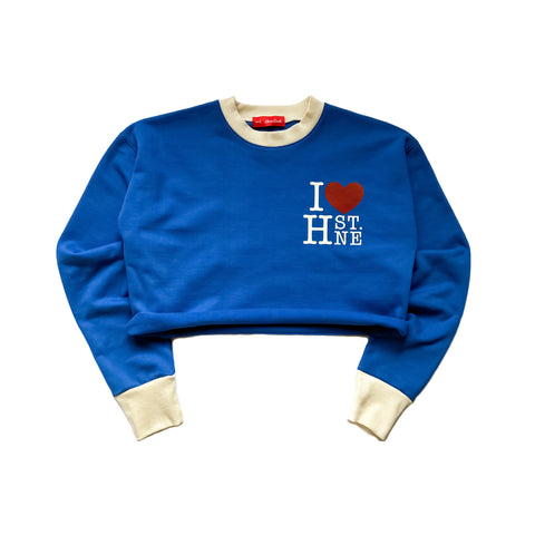 I ❤️ H ST. NE Crop Crewneck Sweatshirt (Royal Blue)