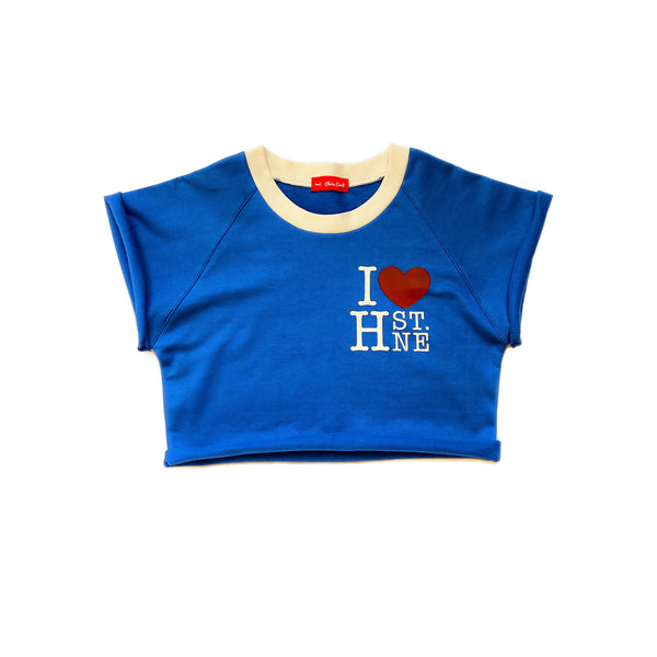 I ❤️ H ST. NE Raglan Ringer Crop Top (Royal Blue)