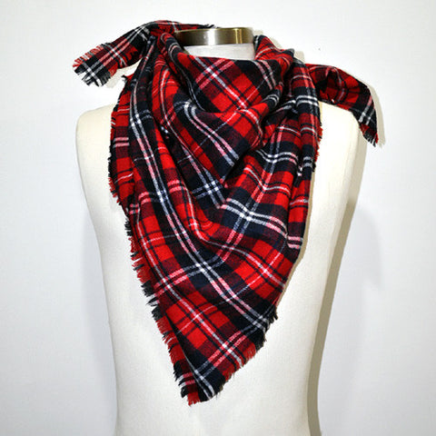 Tartan Plaid Unisex Neckerchief Scarf (Red/White/Navy)