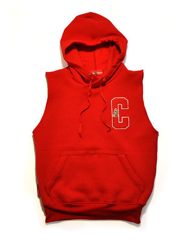 Varsity Letterman Sleeveless Hoody (Red)
