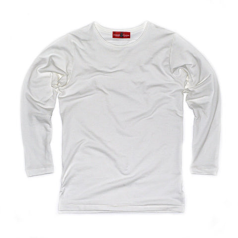 LS No Crew Tee  (White French Terry Knit )