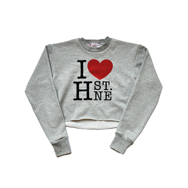 I ❤️ H ST. NE Crop Sweatshirt (Gray) - CHRiS CARDi House of Design