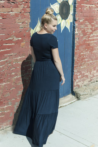 Navy Tiered Maxi Dress