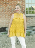 Mustard Crochet Mock-Neck Top