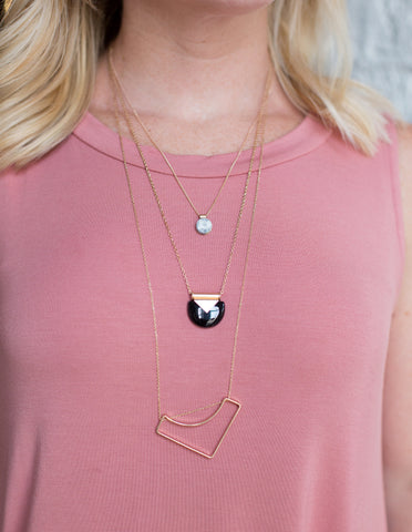 Modern Multi Tier Geo Necklace