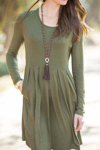 Long Sleeve Every Day Dress Olive