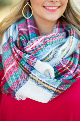 White & Plaid Infinity Scarf