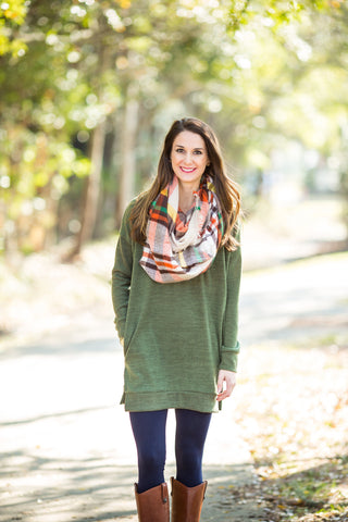 Olive V-Neck Tunic Top