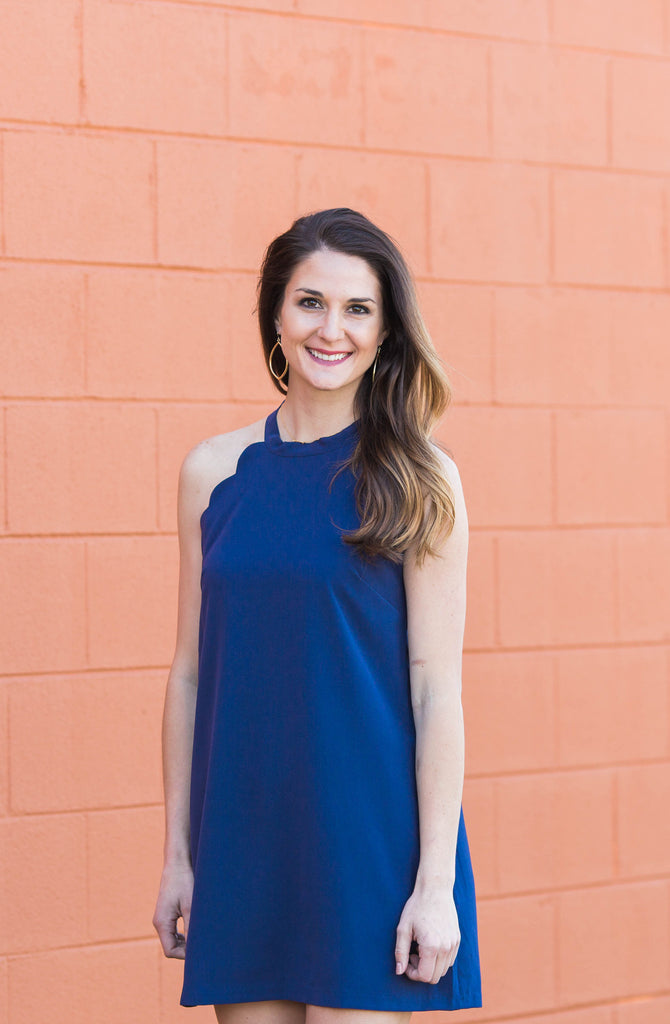 Scalloped & Tied Dress in Navy