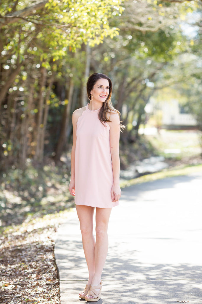 Scallops & Ties Dress in Pink